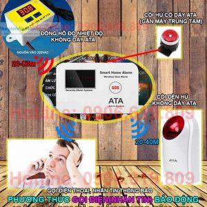Thiết bị cảnh báo nhiệt độ qua sms bằng điện thoại ATA TWS01