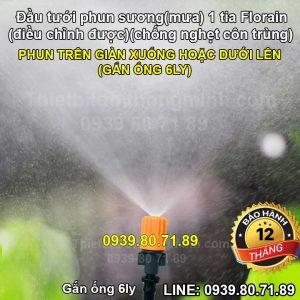 Đầu béc tưới phun sương mưa 1 hướng 6ly Florain