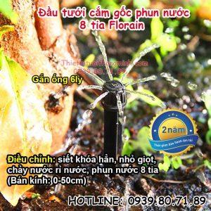 Béc tưới nhỏ giọt 8 tia phun nước cắm gốc điều chỉnh Florain